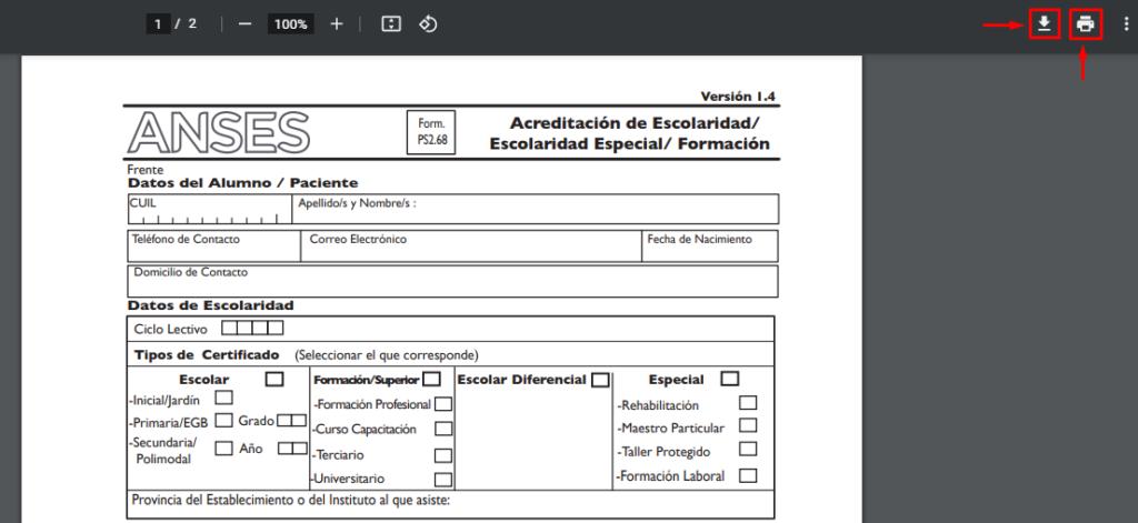 descargar el formulario anses 2.68