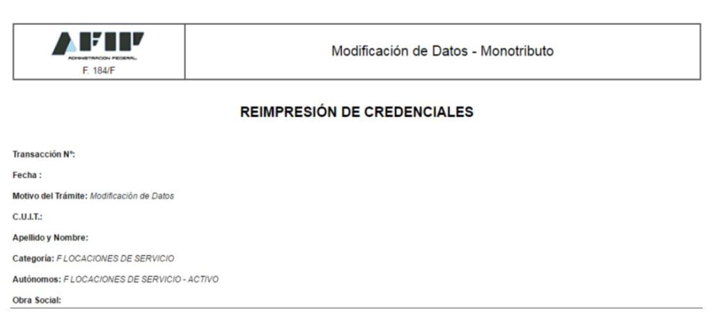 formulario 184 monotributo afip