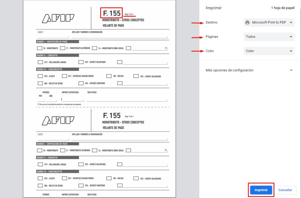 como imprimir formulario f 155