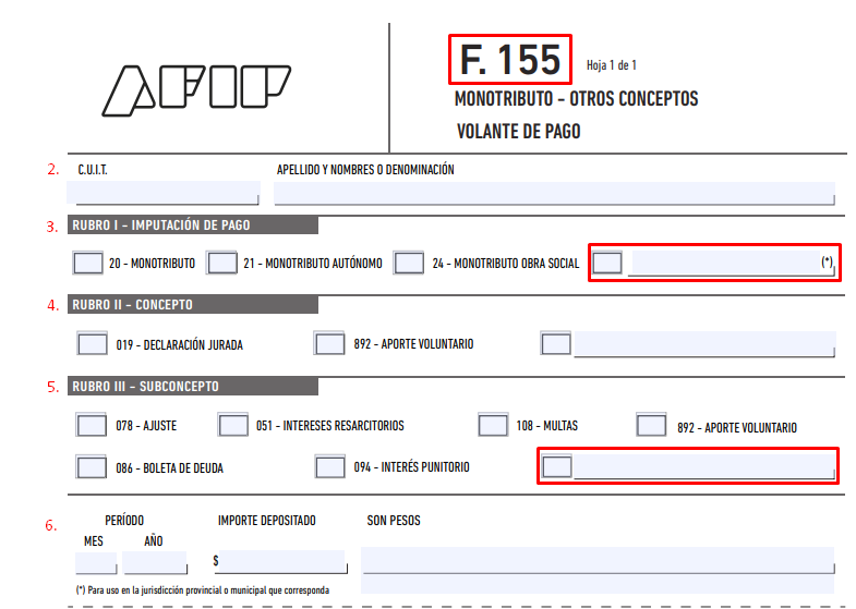 como llenar formulario 155 afip