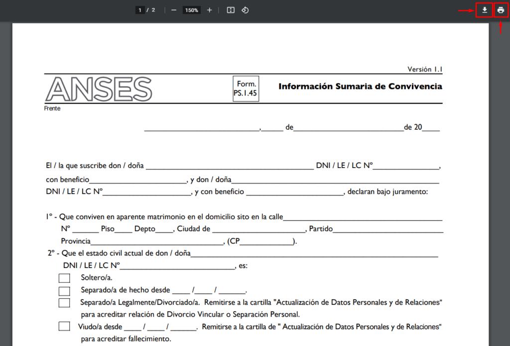 145 formulario anses
