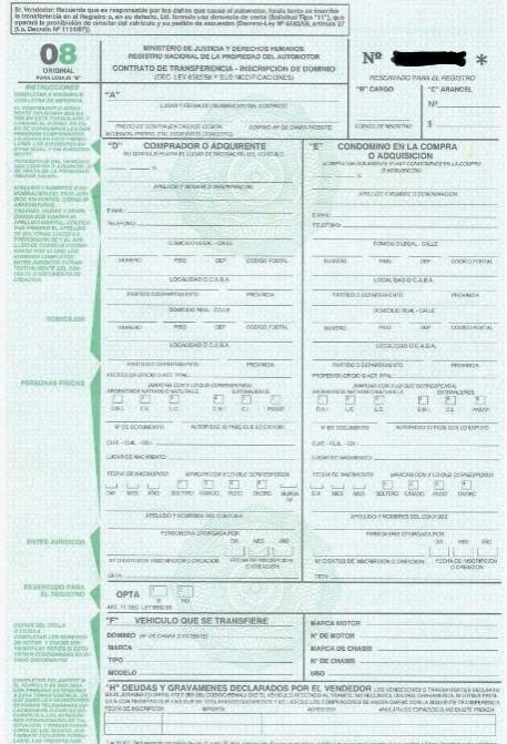 como descargar el formulario 08 automotor