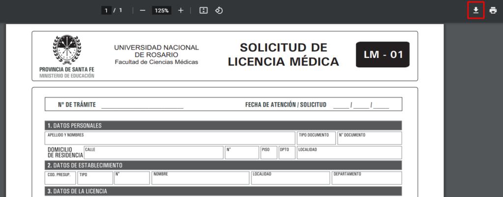 solicitud de licencia médica