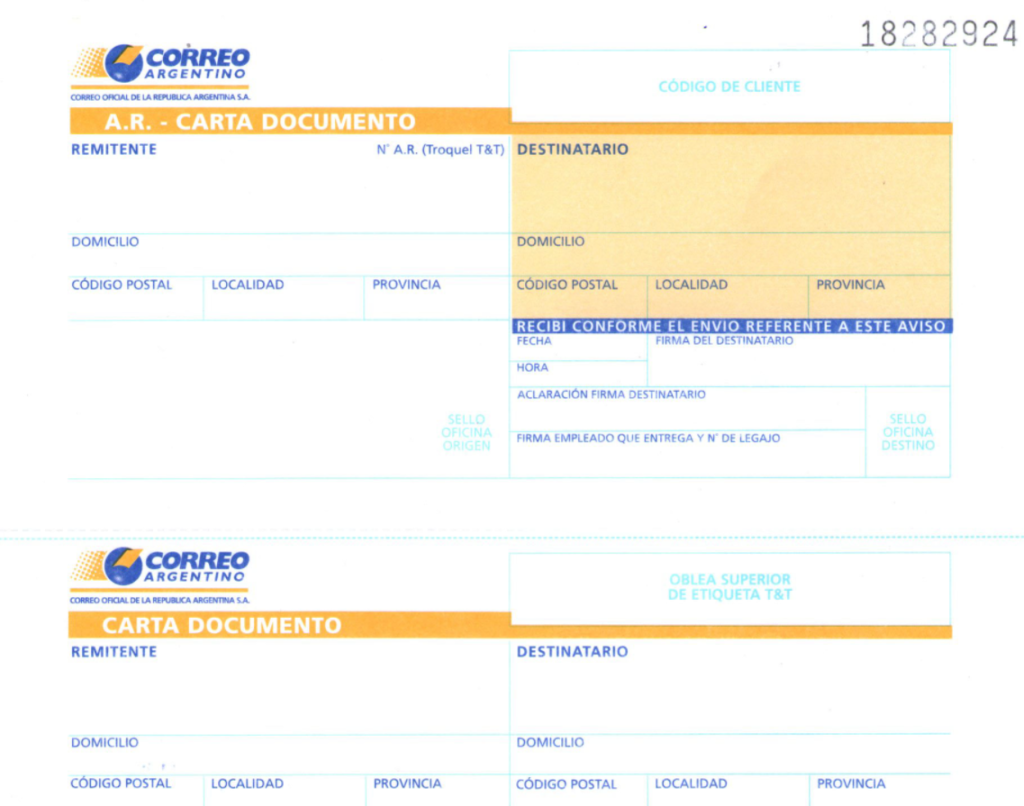 carta documento correo argentino