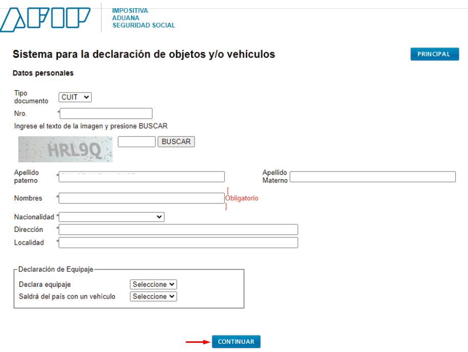completar el formulario om 121
