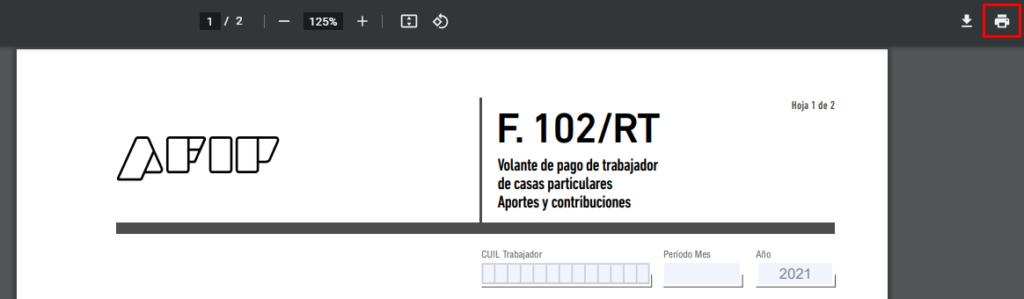 imprimir formulario 102 afip